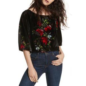 Free People Velvet Slouch Floral Print Bodysuit